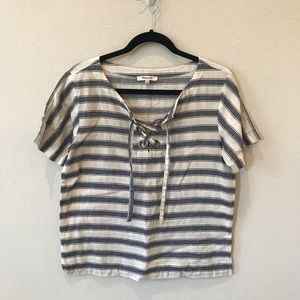 Madewell Linen Lace Up Top XS